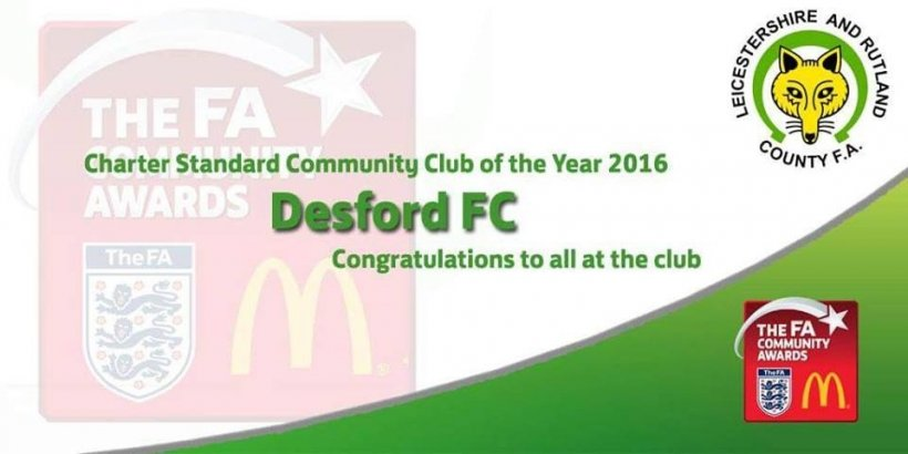 Desford FC named Charter Standard Community club of the year 2016